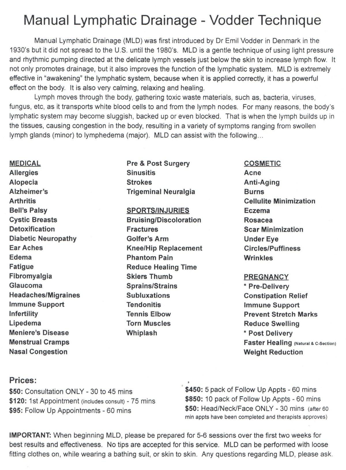 Chiropractic Ambler PA massage menu